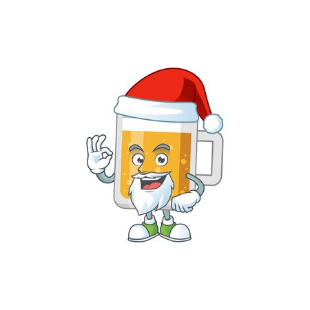 Glass of beer Santa cartoon design concept with ok finger