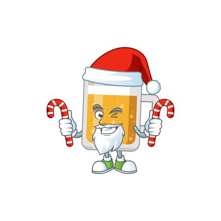 Cartoon character of glass of beer as a Santa having candies