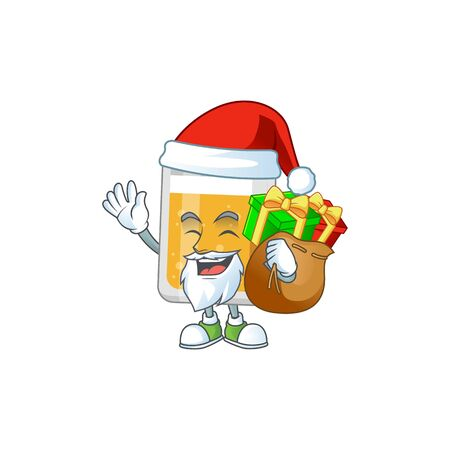 Santa glass of beer Cartoon drawing design with sacks of gifts