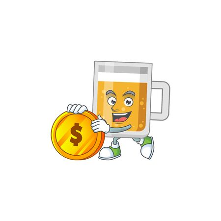 cartoon picture of glass of beer rich character with a big gold coin Vectores