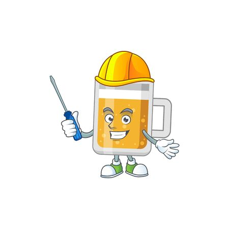 A cartoon image of glass of beer in a automotive character