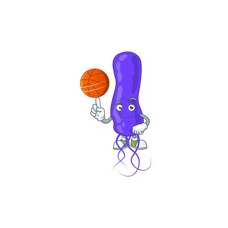 An sporty blue spirila mascot design style playing basketball on league