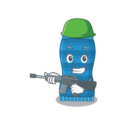 A cartoon picture of Army beach towel holding machine gun. Vector illustration