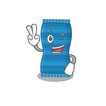 Happy beach towel cartoon design concept show two fingers. Vector illustration Ilustracja