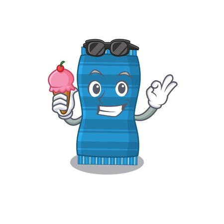 A cartoon drawing of beach towel holding cone ice cream. Vector illustration