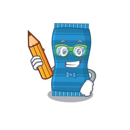A clever student beach towel cartoon character study at home. Vector illustration Ilustracja
