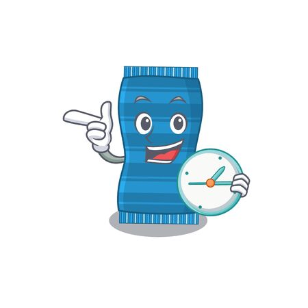 mascot design style of beach towel standing with holding a clock. Vector illustration Ilustracja