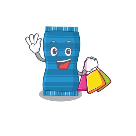 wealthy beach towel cartoon character with shopping bags. Vector illustration Ilustracja
