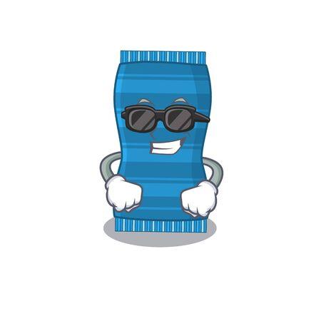 cartoon character of beach towel wearing classy black glasses. Vector illustration