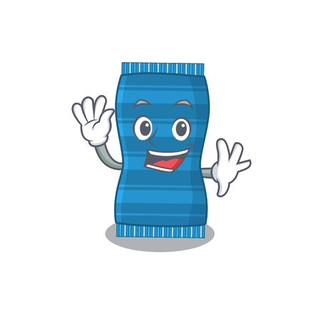A charming beach towel mascot design style smiling and waving hand. Vector illustration