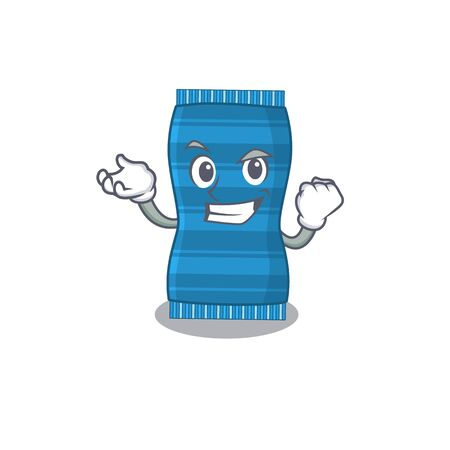 A funny cartoon design concept of beach towel with happy face. Vector illustration