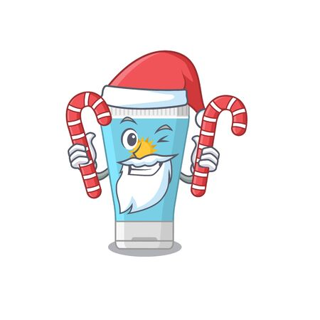 Friendly sunblock cream dressed in Santa Cartoon character with Christmas candies. Vector illustration