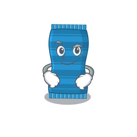 A cute arrogant caricature design of beach towel having confident gesture. Vector illustration Ilustracja