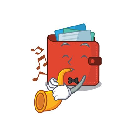 Card wallet musician of cartoon design playing a trumpet. Vector illustration