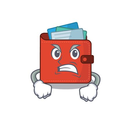 A cartoon picture of card wallet showing an angry face. Vector illustration