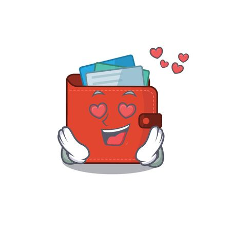 Romantic card wallet cartoon character has a falling in love eyes. Vector illustration