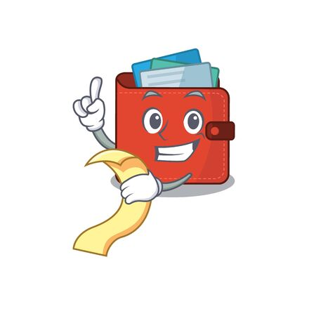 Card wallet mascot character style with a menu on his hand. Vector illustration