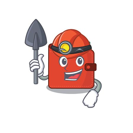 A cartoon picture of card wallet miner with tool and helmet. Vector illustration