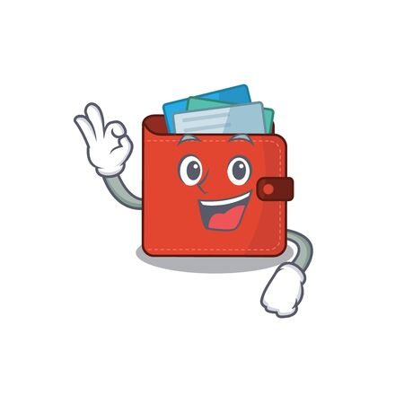 Card wallet mascot design style showing Okay gesture finger. Vector illustration Vectores
