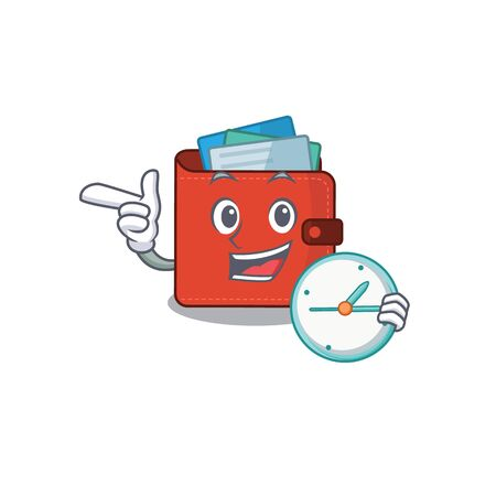 mascot design style of card wallet standing with holding a clock. Vector illustration Vectores