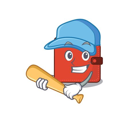 Attractive card wallet caricature character playing baseball. Vector illustration