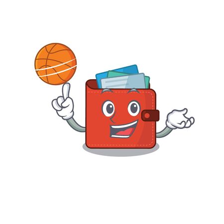 Sporty cartoon mascot design of card wallet with basketball. Vector illustration