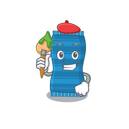 An artistic beach towel artist mascot design paint using a brush. Vector illustration Ilustracja
