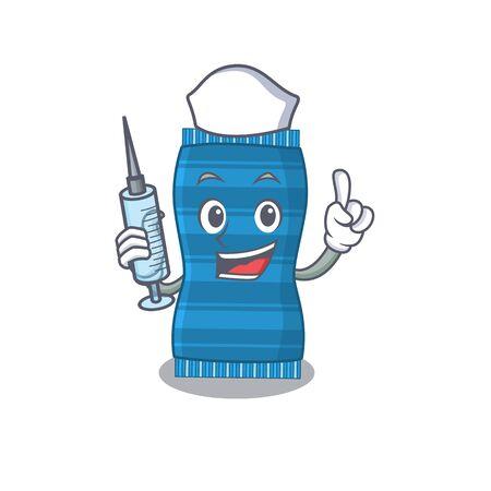 Beach towel humble nurse mascot design with a syringe. Vector illustration