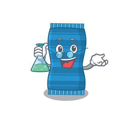caricature character of beach towel smart Professor working on a lab. Vector illustration Ilustracja