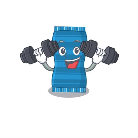 Beach towel mascot design feels happy lift up barbells during exercise. Vector illustration