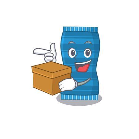 A cheerful beach towel cartoon design concept having a box. Vector illustration