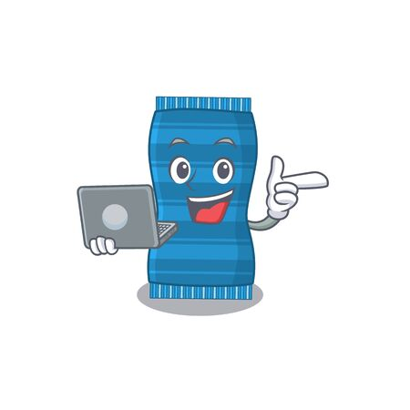 Smart cartoon character of beach towel studying at home with a laptop. Vector illustration Ilustracja