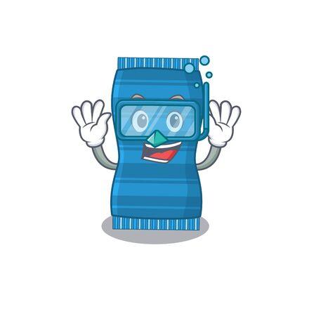 Beach towel mascot design swims with diving glasses. Vector illustration Vettoriali