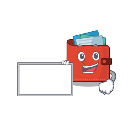 Cartoon character design of card wallet holding a board. Vector illustration Vectores