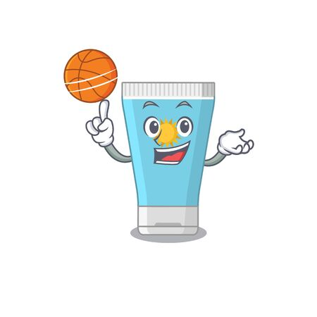 Sporty cartoon mascot design of sunblock cream with basketball. Vector illustration