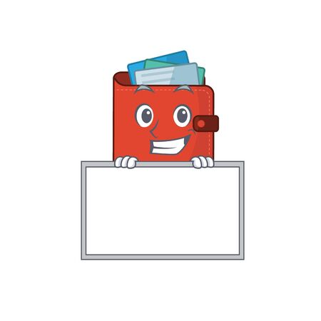 Card wallet cartoon design style standing behind a board. Vector illustration Vectores