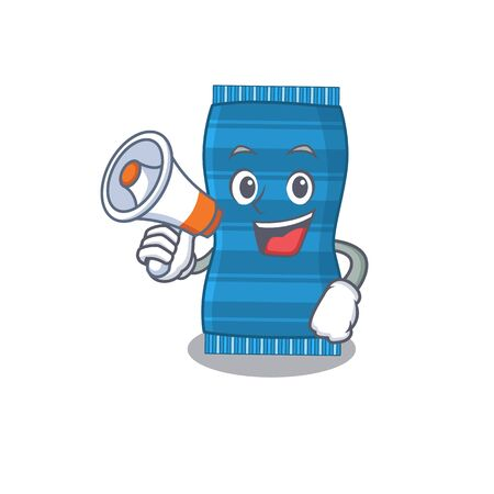 Mascot design of beach towel announcing new products on a megaphone. Vector illustration