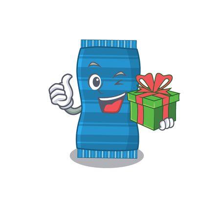 joyful beach towel cartoon character with a big gift box. Vector illustration