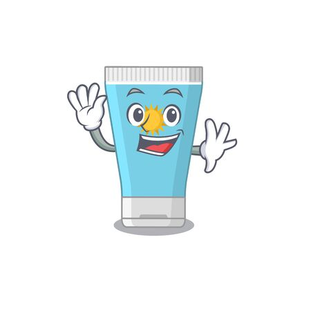 A charming sunblock cream mascot design style smiling and waving hand. Vector illustration