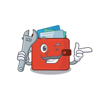A caricature picture of card wallet working as a mechanic. Vector illustration