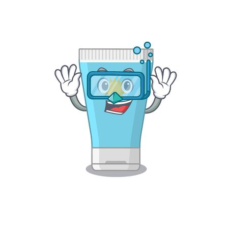Sunblock cream mascot design swims with diving glasses. Vector illustration