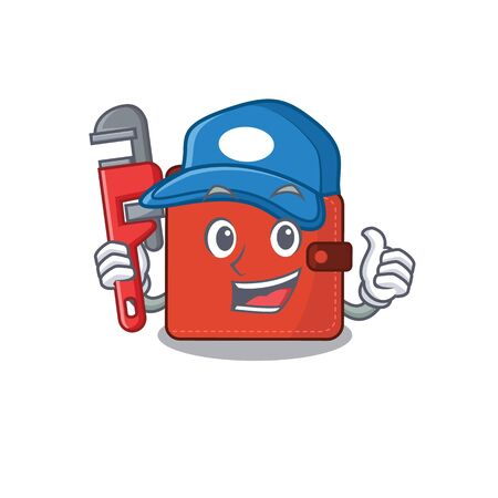cartoon character design of card wallet as a Plumber with tool. Vector illustration Vectores