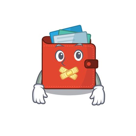 Card wallet cartoon character style having strange silent face. Vector illustration