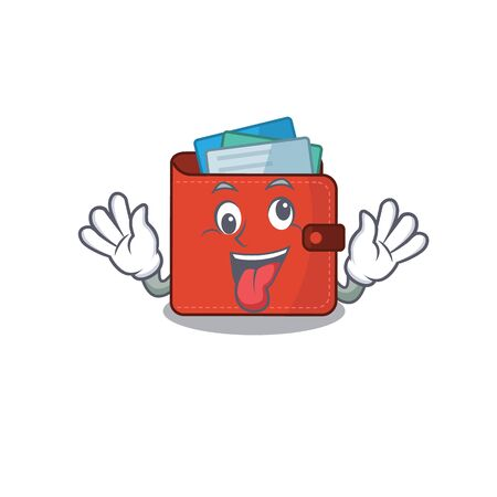 A mascot design of card wallet having a funny crazy face. Vector illustration