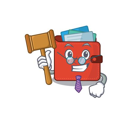 A wise judge of card wallet mascot design wearing glasses. Vector illustration