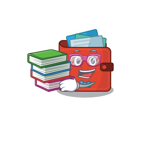 A diligent student in card wallet mascot design concept read many books. Vector illustration Vectores