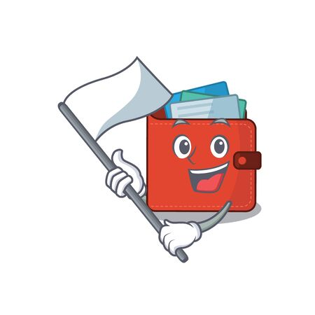 A heroic card wallet mascot character design with white flag. Vector illustration Vectores