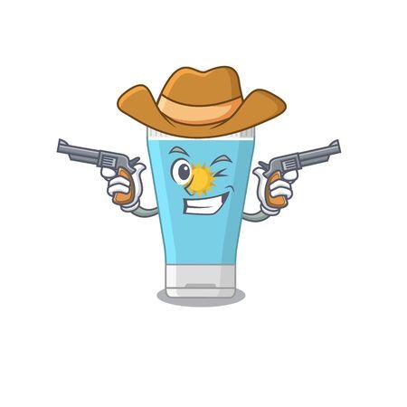 Cartoon character cowboy of sunblock cream with guns. Vector illustration