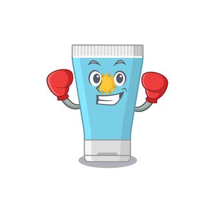 Mascot design of sunblock cream as a sporty boxing athlete. Vector illustration