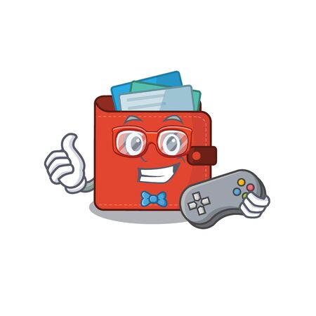 Mascot design style of card wallet gamer playing with controller. Vector illustration